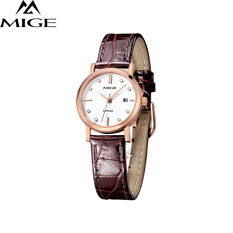 Mige 2017 Topp Fashion Leather Ladies Watch Brun Strap Business Vanntett White Thin Saphire Dial Quartz Women Wristwatches