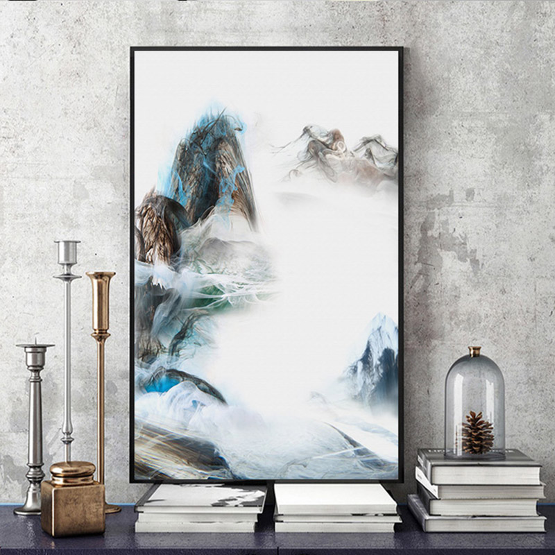 YongHe Unframed Canvas Painting Spray Paint Chinese Painting Of Mountains And Clouds Poetic Ink Landscape Decoration Living Room