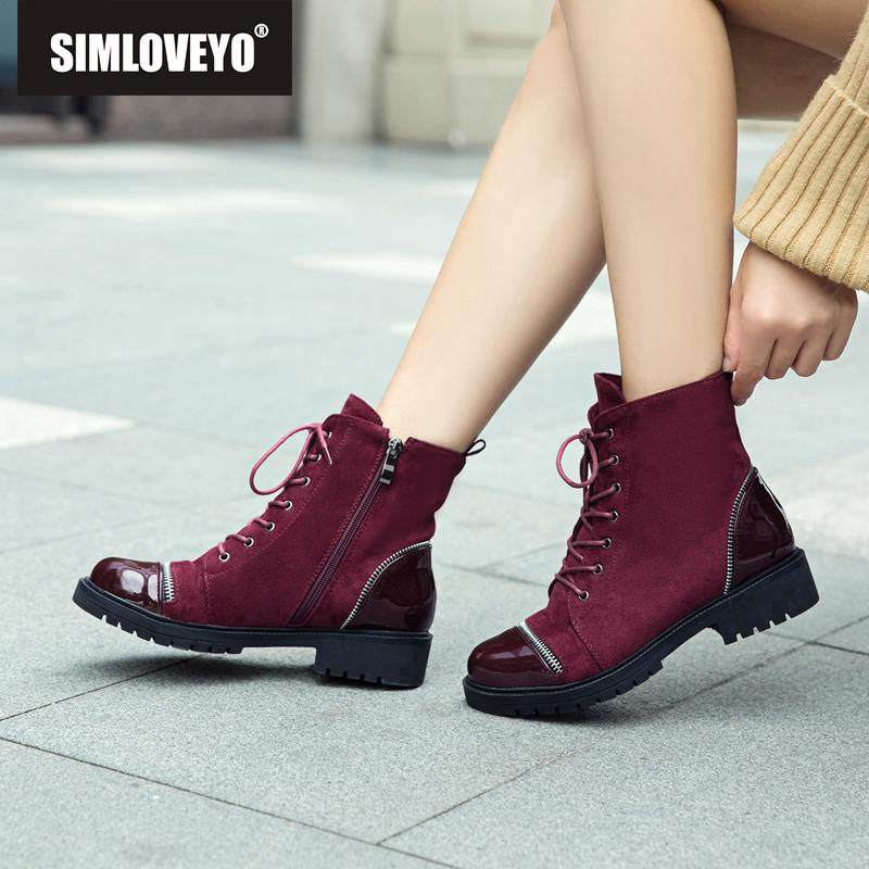 SIMLOVEYO Women leather lace up Ankle Boots Outdoor Low heels Fauex suede Dr M autumn winter