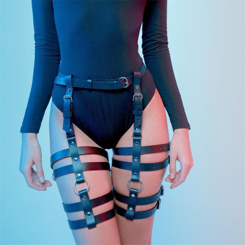 Women Harness Body Belts Sexy Garters Bondage Black Leather Belt Punk Strap Band From Waist To Leg Adjustable Suspender Straps