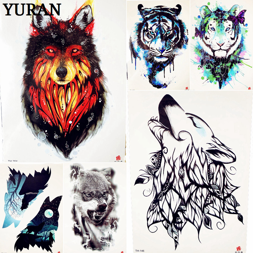 summer style indian red fire wolf temporary tattoo flash. Black Bedroom Furniture Sets. Home Design Ideas