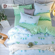 Liv-Esthete 2019 Hot Sale New Cactus Bedding Set Duvet Cover Single Double Queen King Bed Linen Flat Sheet Pillowcase For Adult