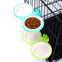 цена Pet Feeder Portable Dog Bowl Dog Feeder Pet Stomach Feeding Pet Supplies Dual Petfood Bowls Plastic Cute Dog Bowl Cat 50GP002