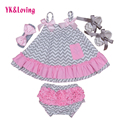 2016 New Baby Girls Clothes Set Cotton Newborns Gallus Ruffle Swing Top Bloomer Sets Leopard kids Baby Girl Clothing