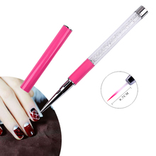 1 piece Rhinestones White and Pink Design Nail Art Brush Pen For Drawing Liner Painting Sculpture UV Gel Polish Manicure Tools