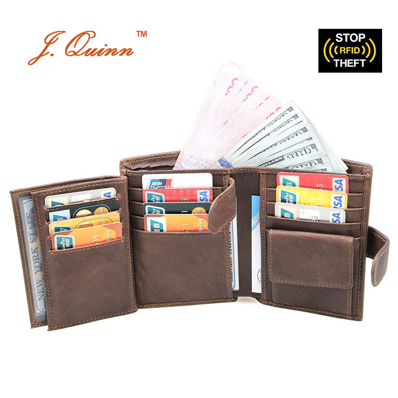 J.Quinn RFID Short Organizer Coin Wallets for Men Women Oil Wax Cowhide Leather Wallet Dual ID Flap 13 Credit Card Holder Purse