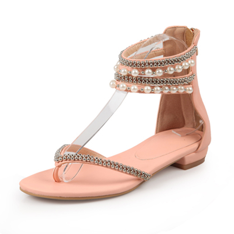 589d23f293 US $47.82 14% OFF Girl's Glitter Jeweled Rhinestone Flower Thong toe Flats  Sandals Women Metal Chains Buckle Summer Bling Crystal Sandalia Shoes-in ...