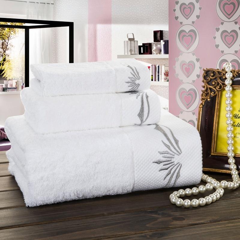 2016 di lusso asciugamani da bagno set faccia asciugamani 100 cotone bianco ricamo