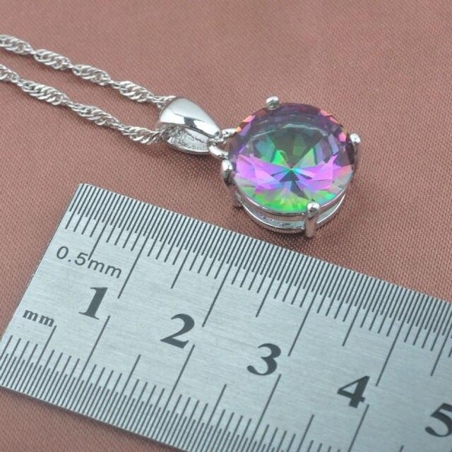 Rotondo Multicolore Arcobaleno delle Donne Zircone 925 Sterling Silver Jewelry Sets Orecchini a Pendente Della Collana Squilla Il Trasporto Libero TZ0368