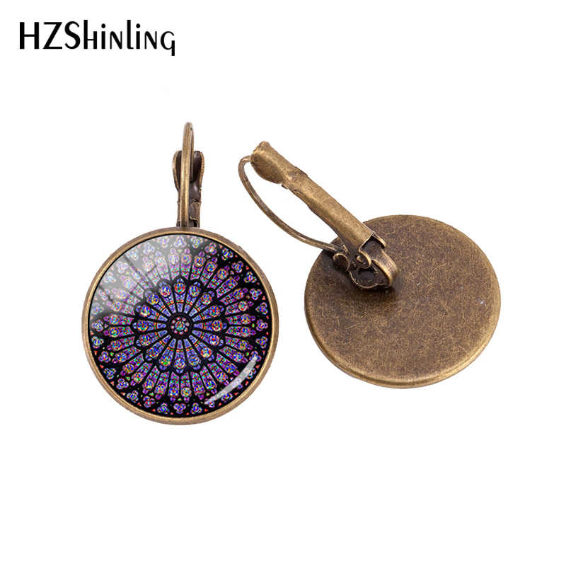 Newest Arrived Rose Window Stained Glass Notre Dame de Paris Cathedral Glass Clip Earrings Jewelry Bronze Hook Earrings