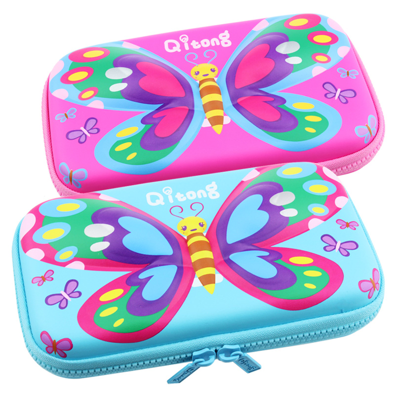Pencil box for school girl EVA light pencil bags cases zip kawaii cute cartoon butterfly blue rose pink pupils pencil case big simple cute pencil cases transparent abs plastic big pencil case for student