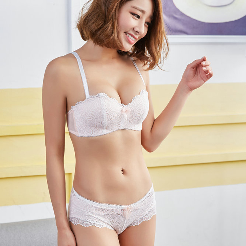 de1304c43c 2018 Japanese Sexy Embroidery Push Up Bra 1 2 Half Cup Wire Free Intimates  Lace Cute Lingerie Underwear Bra Set-in Bra   Brief Sets from Underwear ...