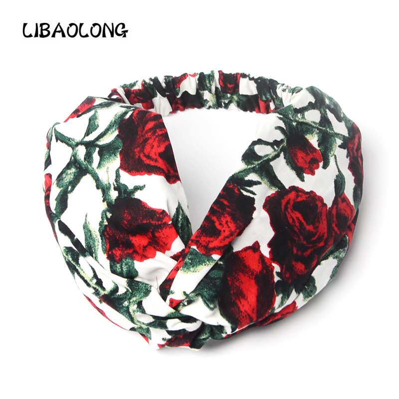 LIBAOLONG Fashion Girl Women Rose Flower Women Turban Headband Milan New Elastic Headbands for Women Hair Accessories
