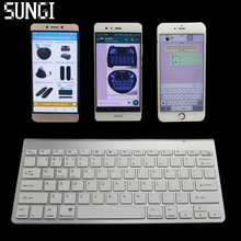 Silver Color Ultra Thin Multimedia Wireless Bluetooth Keyboard QWERTY For IOS Android Windows Tablet PC