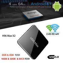 Горячая Распродажа H96 MAX X2 Amlogic S905X2 4 ядра Android 8,1 Smart ТВ BOX 4 Гб Оперативная память 32G/64 GB Встроенная память LPDDR4 4 K HD H.265 Media Player