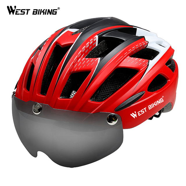 WEST BIKING Bike Helmet EPS Integrally-molded Glasses Insect Net Ultralight Casco Ciclismo MTB Road Bike Cycling Goggle Helmet