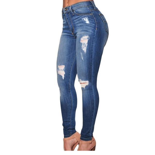 Venta caliente 2017 de Otoño Mujeres Adultas Entrenamiento LC78637 Destruido Jeans Ajustados de Cintura Alta Jeans Denim Casual Feminino Longo