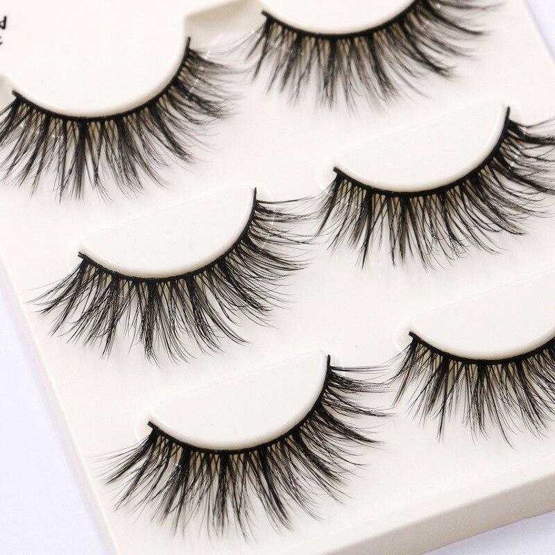 A04 False Eyelashes 3 Pairs Natural False Eyelashes Thick Makeup Real 3D Mink Lashes Soft Eyelash Extension Fake Eye Lashes