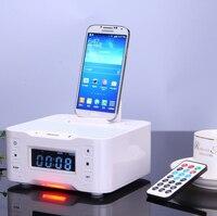 ЖК-дисплей цифровой док-Зарядное устройство динамик bluetooth стерео fm Радио Колонки для iPhone4S 5S 6 телефона Android