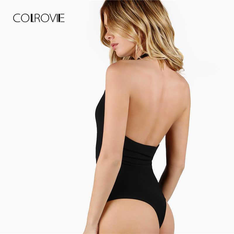COLROVIE черный сплошной Глубокий V средства ухода за кожей шеи спинки Эластичный сексуальное боди для женщин 2019 весна новый корейский без рукаво