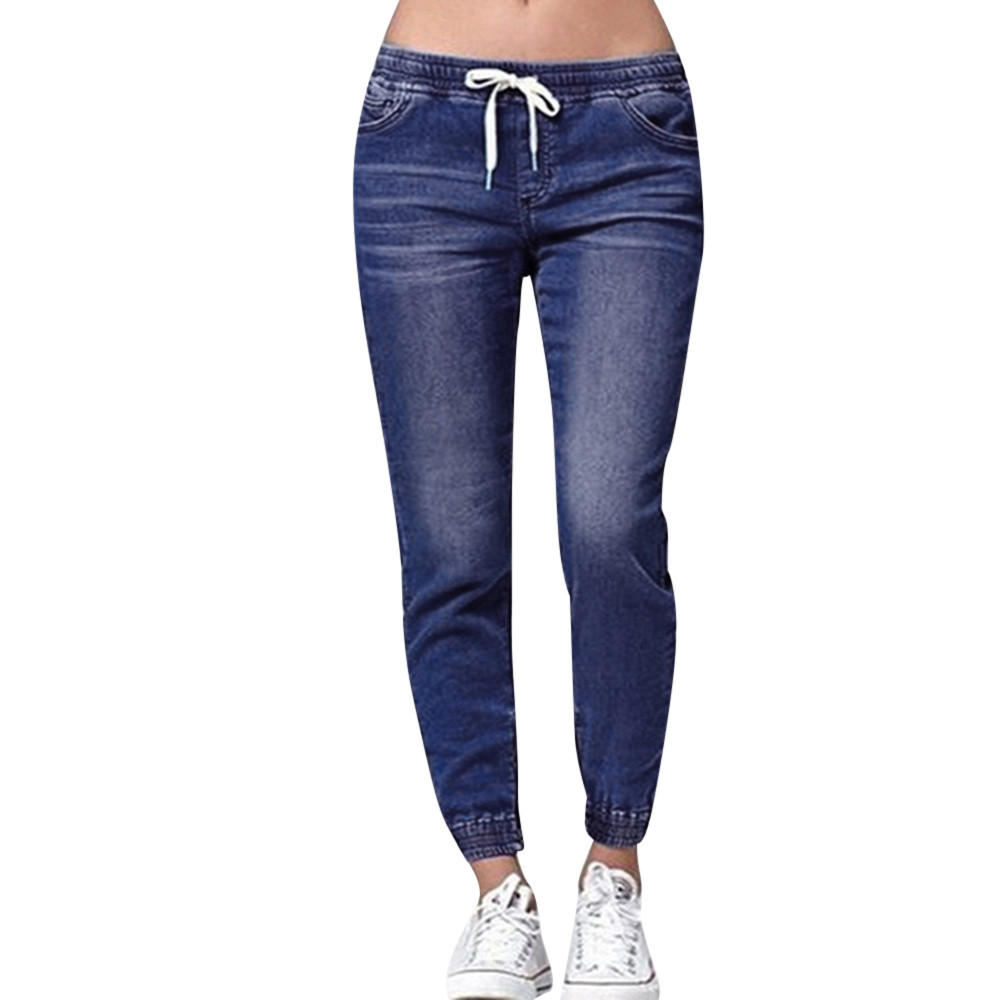 Jaycosin   jeans   ladies large size stretch plus denim casual drawstring nine points   jeans   fashion design casual outdoor   jeans