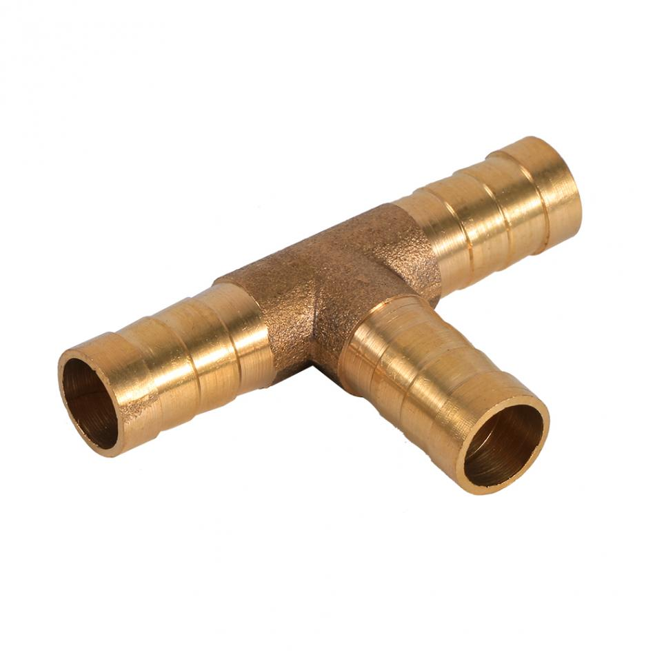 Vacuum Hose Joiner,Brass T Piece 3 Way Fuel Connector for Compressed Air Oil Gas Pipe 12mm