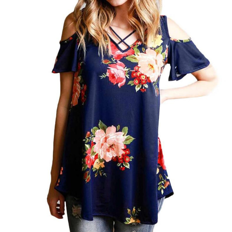 5XL Plus Size 2018 Summer Tops Women Short Sleeve Sexy Casual T-shirt Print Slim Off Shoulder T-shirt Flowers Print Tops T-shirt
