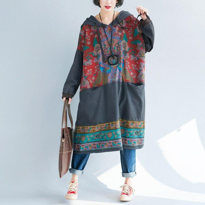 Runback capuche femme Jeans Robe grande taille personnalité imprimer décontracté Vintage Denim Robe Longue tenue de club manches longues Vestidos