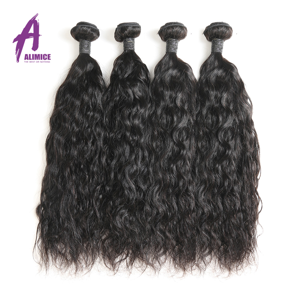 Alimice Hair Bundles Brazilian Wet And Wavy Human Hair 4 Bundles Deal 100% Remy Human Hair Weave Bundles 8-30inch Can Be Dyed