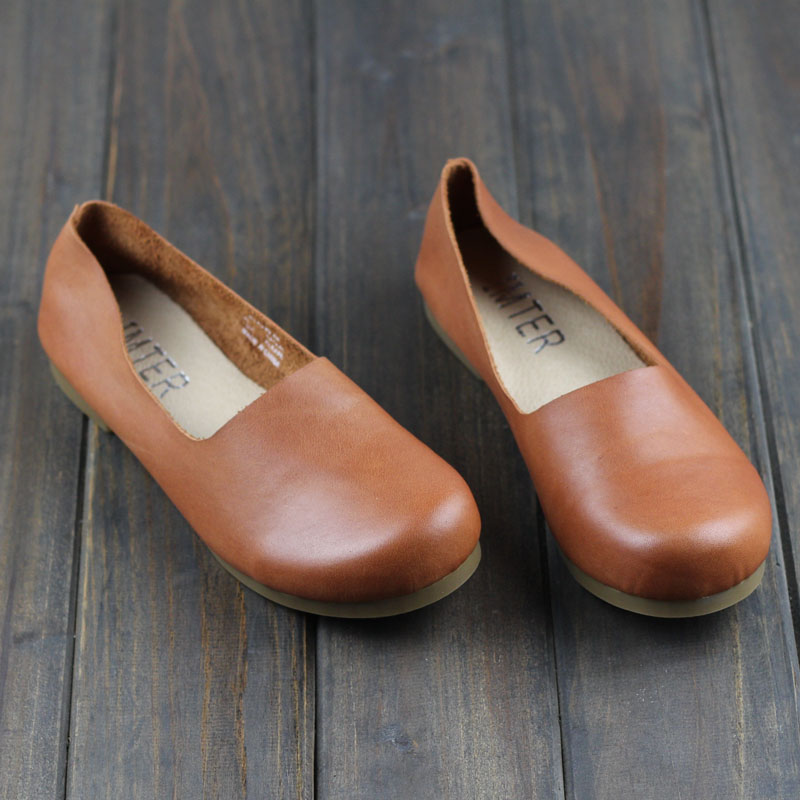 Women Shoes Slip on Ballet Flats Woman Genuine Leather Shoes Ladies Moccasins Female Spring/Autumn Footwear(1688-1)