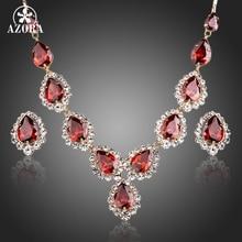 AZORA Oro Color Rojo CZ Waterdrop Colgante Collar y Pendientes Juegos de Joyería TG0149