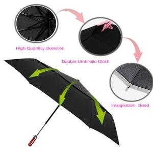 Image 5 - LIKE RAIN 140cm Large Men Business Automatic Umbrella Rain Women Strong Windproof Double Layer Folding Sun Golf Umbrella UBY30