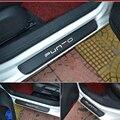 Углеродное волокно  автомобильные двери  добро пожаловать  педаль  пленка  наклейки  не царапается  не скользит  порог  защита  Lnterior Scuff Для Fiat...