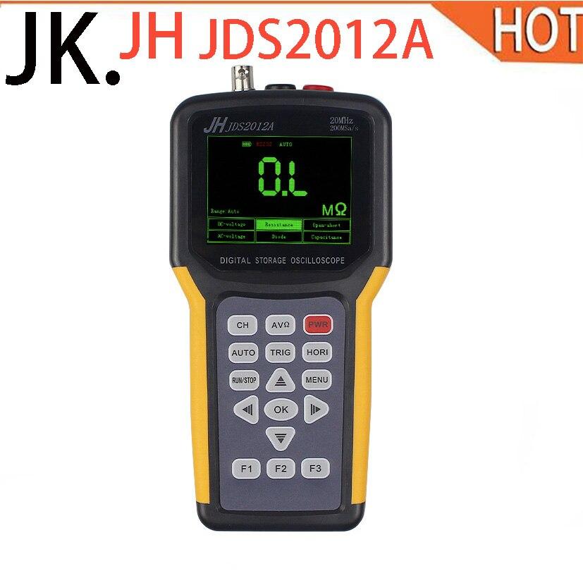 Newest Jinhan JDS2012A 20MHz Bandwidth 2 channel JDS2022A Handheld Digital Oscilloscope 200MSa/s Sample Rate In Stock jinhan jds2023 handheld oscilloscope 1 channels 20mhz oscilloscope jds2023 200msa s 16 bit true color in stock now