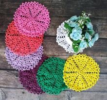 Modern 15cm Round Placemat Christmas Placemats Cup Mat Mug Pad Coasters Table Mats Cotton Fabric Crochet Place Doily