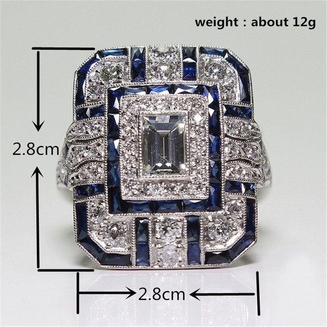 YWOSPX Luxury Silver Big Square Rings  Jewelry Wedding Crystal Zircon Anel Engagement  5