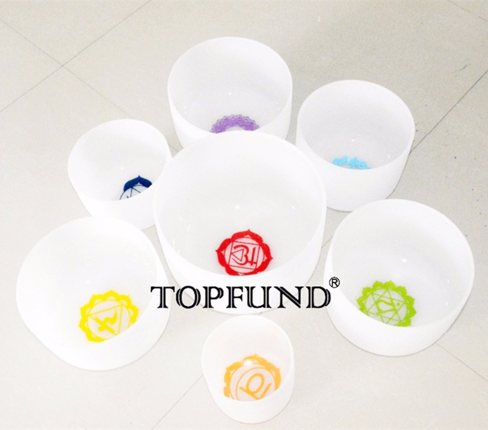 TOPFUND 432Hz Chakra Tuned Set 7 Patterned Frosted Crystal Singing Bowls 8-10''(10C,D,E,F and 8G,A,B.) orihiro трутовик 432 таблетки