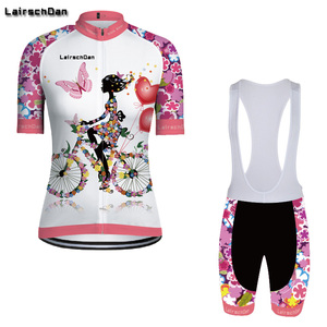SPTGRVO Lairschdan 2019 Pink Women Enduro Bike Jersey Set Bicycle Clothes Suit Short Cycling Clothing Kit Summer Mtb Outfit(China)