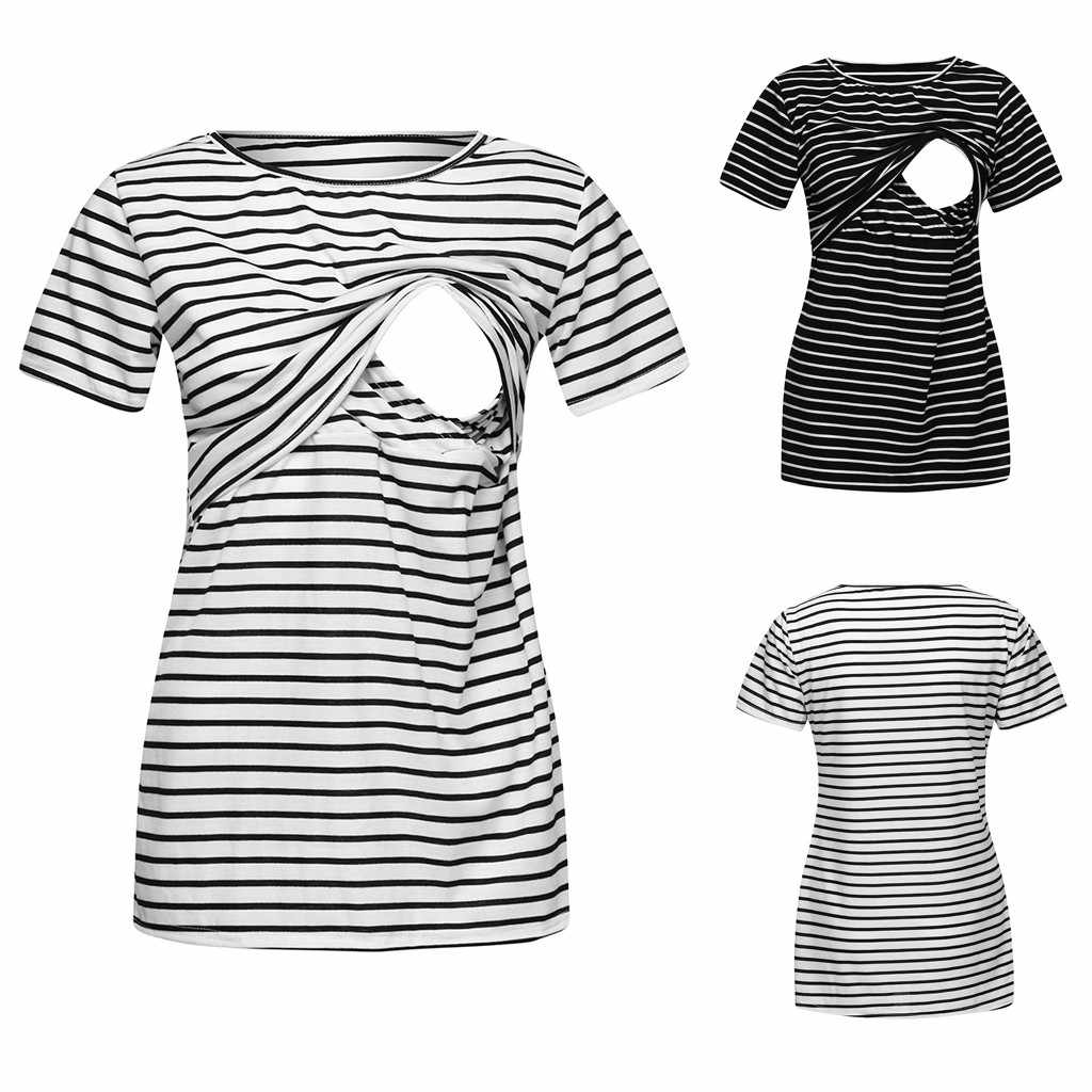 Maternity Clothes Women Maternity Mom Nursing Striped Print T-shirt Pregnancy Breastfeeding Clothes Summer Clothes For Women