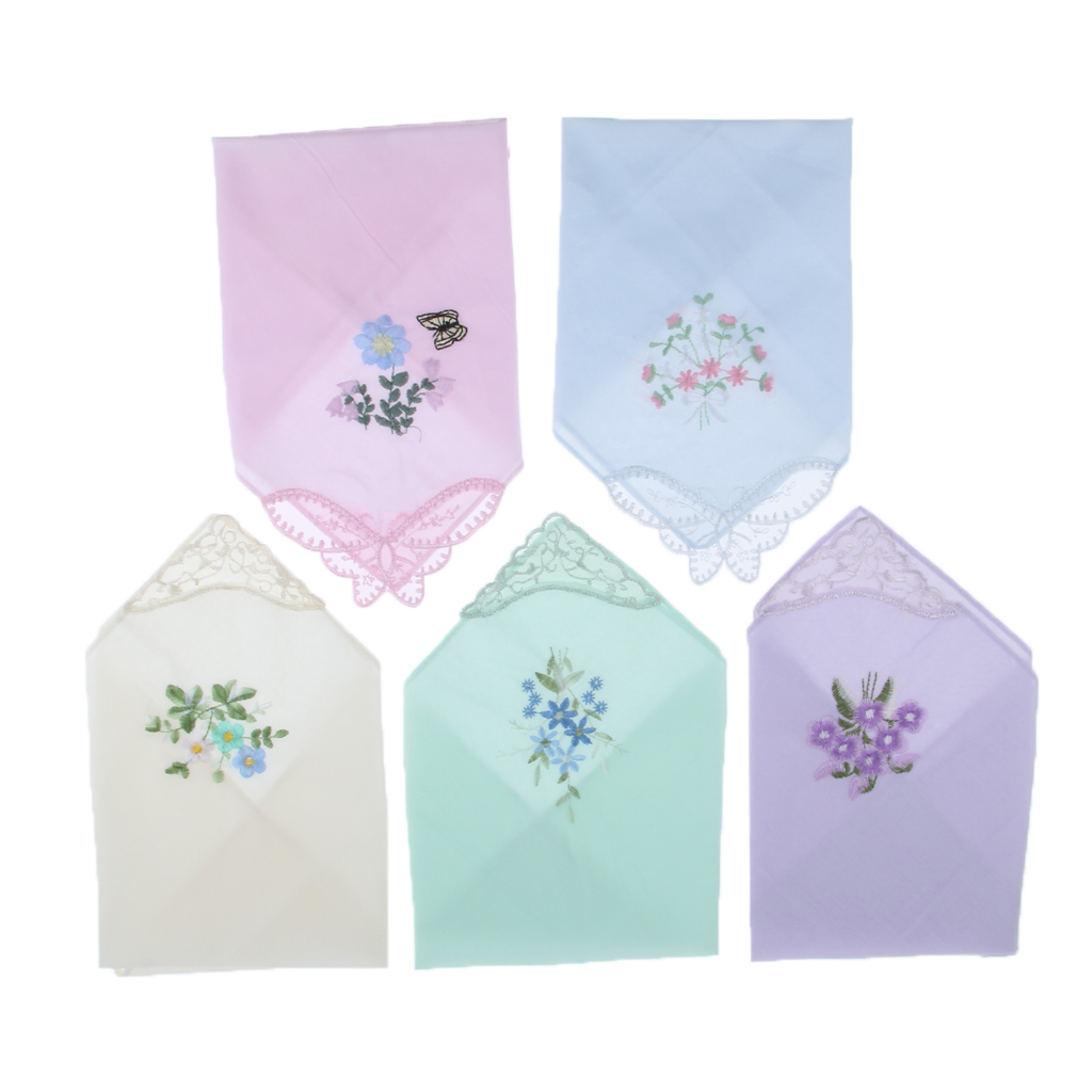 5 Pieces Women Ladies Cotton Handkerchiefs Floral Embroidered With Lace Edge 28 X 28cm