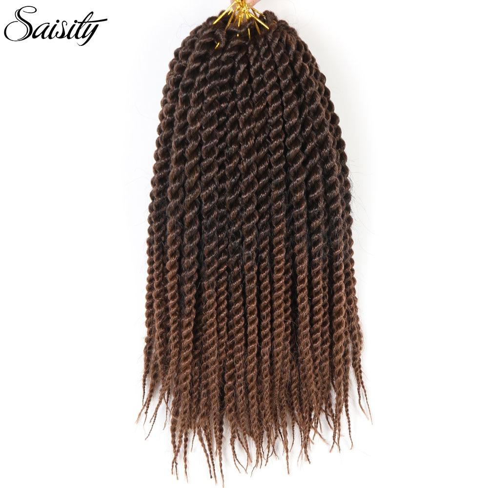 "Saisity ombre crochet twist havana mambo twist jumbo-synthetic-hair crochet braids hair extension braiding hair crochet hair 18"""