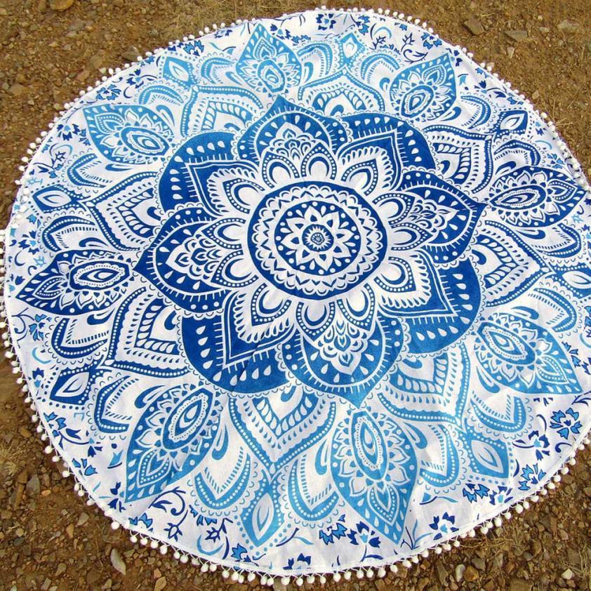 Round Beach Pool Home Shower Towel Blanket Fine Cotton Table Cloth Multicolor Yoga Mat Dec 15