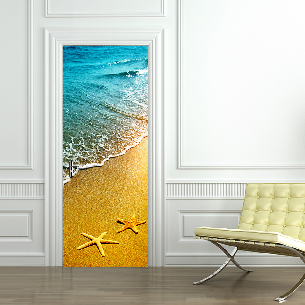 2Pcs/set DIY 3D Door Stickers Beach Starfish Pattern Large Wallpaper Wall Sticker Living Room Door Home Decoration Accessories stylish diy purple mangnolia and letters pattern wall stickers for home decor