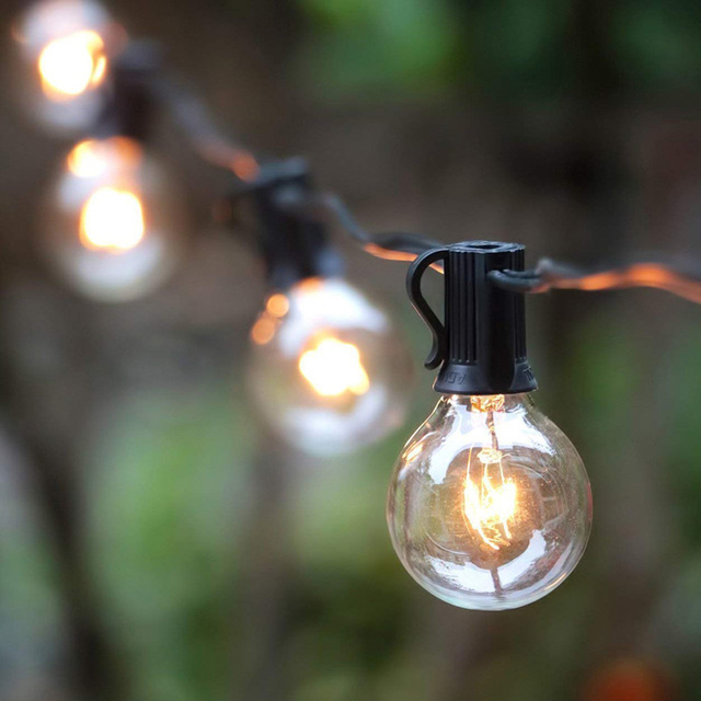 G40 String Lights 10Ft 25Ft Clear Globes Vintage Bulbs Light Indoor Outdoor Waterproof Garden Patio Wedding Garland String Lamp