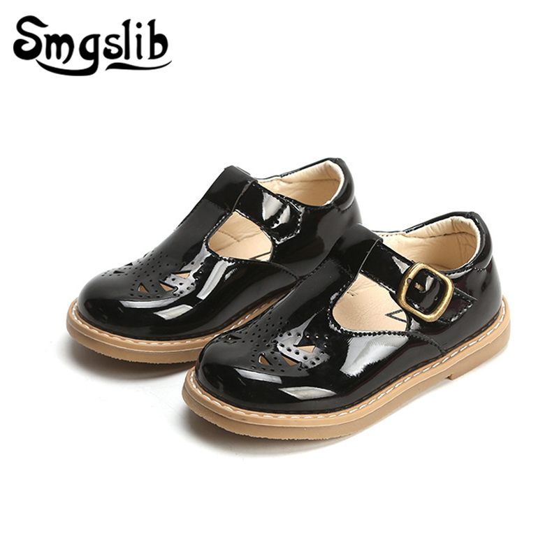 Girls Leather Shoes Child Pu Sneakers 2019 Spring Autumn Kids School Shoes Baby Girls Black Shoes Children Plateforme Sneakers