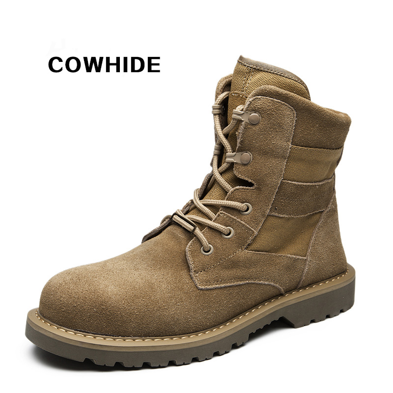 Steel toe shoes Work boots Commando military boots Anti - smash and puncture safety shoes men's wear-resisting Autumn and winter