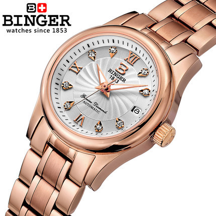 New Binger 2017 Female Fashion Watch Ladies Waterproof Quality Brand Watches CZ Diamond Watches Roman Numerals Free Shipping