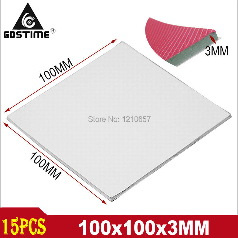 15 Pieces lot 100 x 100 x 3mm Conductive GPU CPU Chipset Silicone White Thermal Pad