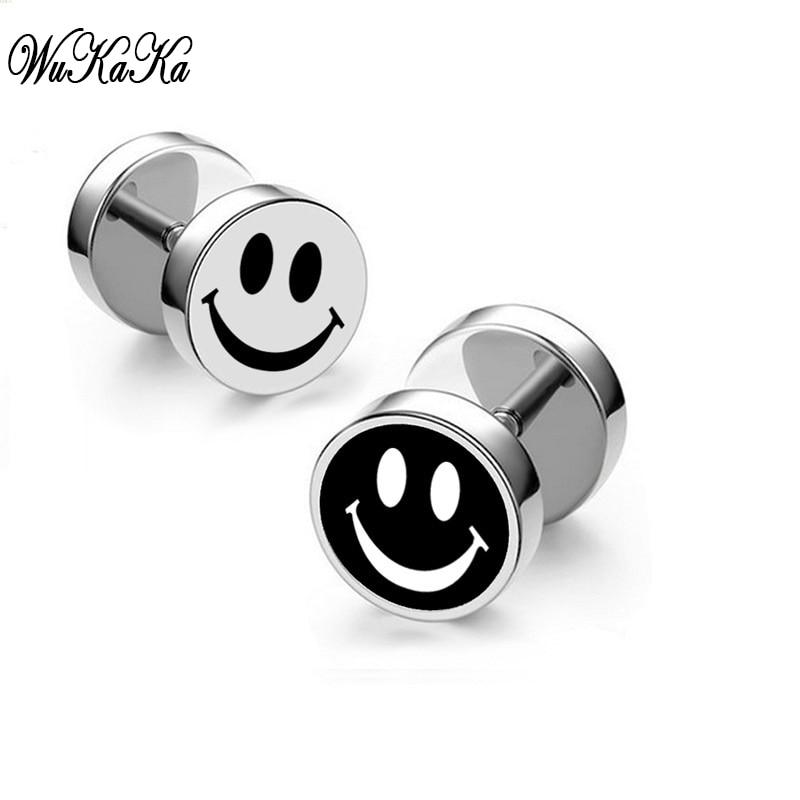 Cool Emoji Men Stud Earring Black Fashion Cute Jewelry Smile Face Earring 2017