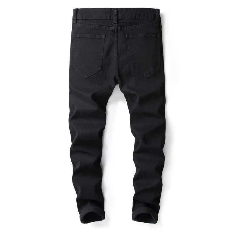 2018 модные мужские джинсы повседневные штаны хип-хоп панк стиль рваные джинсы брюки облегающие эластичные Брендовые мужские джинсы повседневные штаны